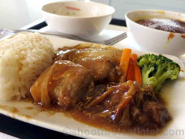 Philippine Airlines Business Class meal Mnl-Hkg-Mnl- paksiw na lechon kawali with lemongrass steamed rice