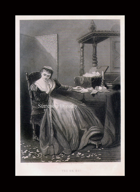 Yes or No Antique Engraving 1883 Victorian Society