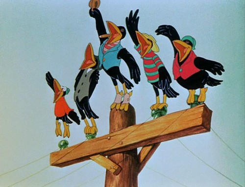 DUMBO crows on a pole