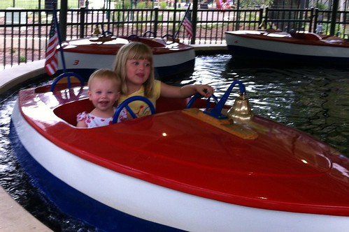 Lucy & Catie on the kiddie boat ride