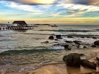 Image of  Serendipity Beach  near  Sihanoukville. sunset 2012