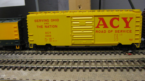 Early 1960's era Akron, Canton & Youngstown Railroad yellow 40 foot box car. by Eddie from Chicago
