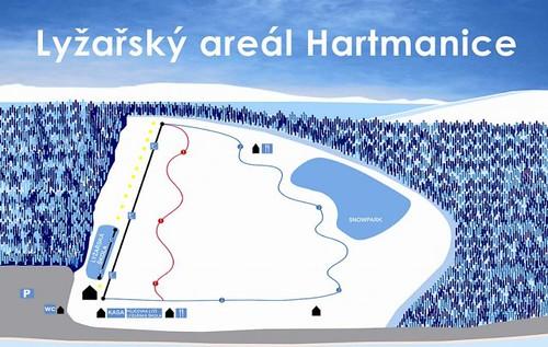 Hartmanice - mapa sjezdovek