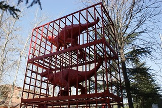 Red dinosaurs in a cage - is it really art?
