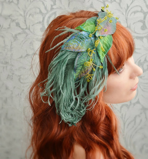La Boheme - teal leaf and ostrich feather fascinator