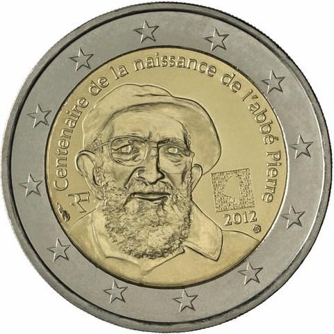 2 Euro Francúzsko 2012, 100. výročie narodenia Abbé Pierre