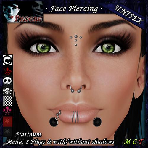 *P* Unisex Face Piercings Z3 ~ 8 Plugs ~ TDTH Gift