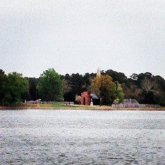 Historic Jamestown fort along the James River as seen from the Jamestown Ferry. Do you see Pocahontas waving? ;)