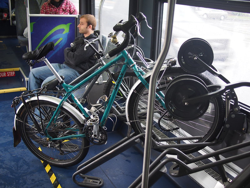 Swift In-Bus Bicycle Rack: Community Transit's Swift BRT uses these racks inside for bicycles, as it's meant for frequent service rather than holding a lot of seated passengers.  My Troll's wheelbase was too long for the rear wheel to sit in the rack proper, but this was plenty secure.