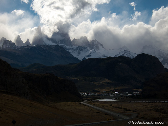 Fitz Roy Mountain looms over the village of El Chalten