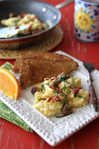 Scrambled-Egg-Recipe-with-Turkey-Sausage-Sun-Dried-Tomatoes-&-Basil-Cookin-Canuck