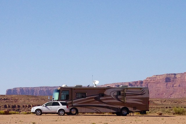 Class A Motorhome and towed vehicle, Goosenecks State Park, Utah, September 30, 2011