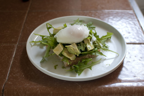poached egg + arugula + toast + avocado