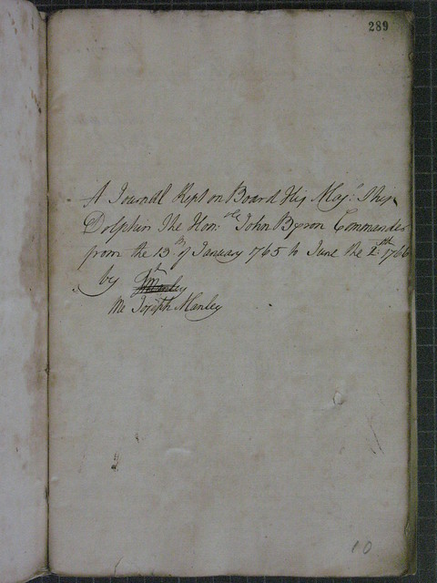 HMS Dolphin - Log Book - January 1765 to June 1766