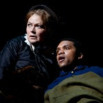 Karen MacDonald (Mary Todd Lincoln) and DeLance Minefee (Moses Levy) in the Huntington Theatre Company's production of Paula Vogel's A CIVIL WAR CHRISTMAS: AN AMERICAN MUSICAL CELEBRATION playing at the BU Theatre. Part of the 2009-2010 season.