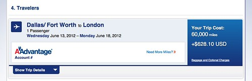 Screenshot of BA flight with $630 in fees