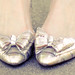 vintage metallic bow shoes
