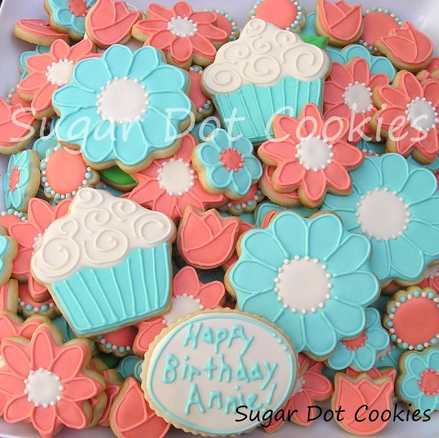 Birthday Sugar Cookies with Royal Icing - Flowers and Cupcakes ...