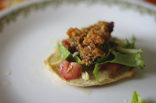 Open faced bean and yam burrito on a homemade tortilla