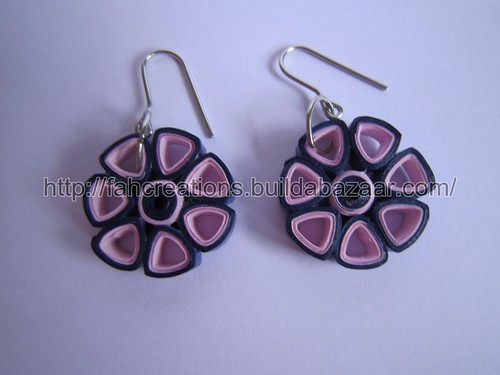 Handmade Jewelry - Paper Quilling Flower Earrings (Triangle Petals 1) - QF6 by fah2305