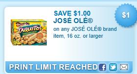Jose Ole Brand Item, 16 Oz. Or Larger Coupon