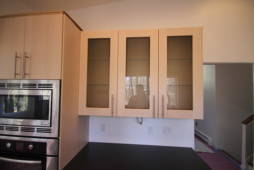 Glass door cabinets.