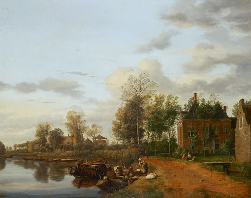 Jan van der Heyden - The Royal Collection RCIN 405948. A country house on the Vliet near Delft (c. 1660)