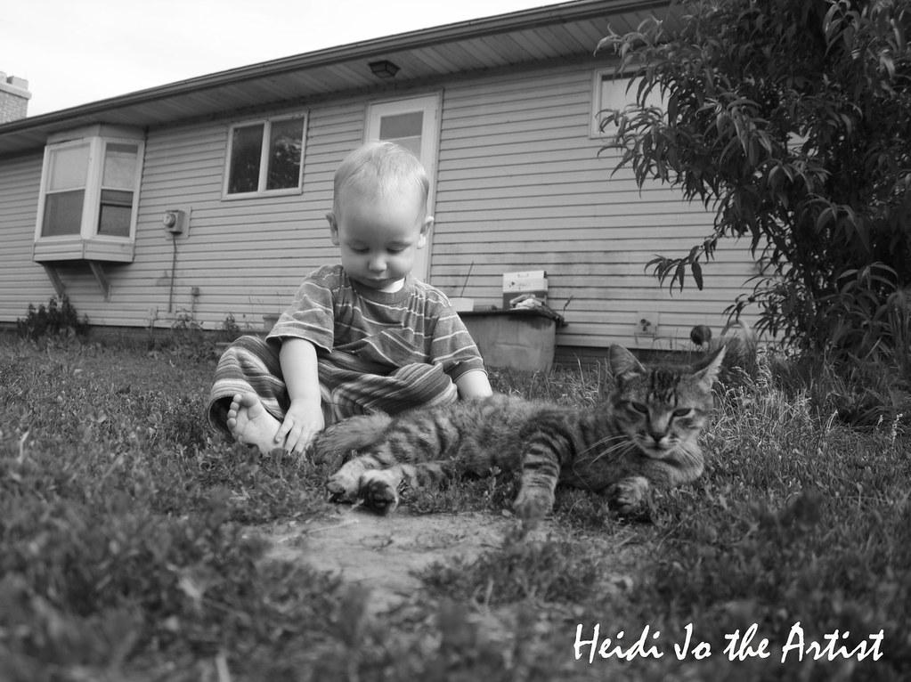 Black & White Baby Boy & Cat