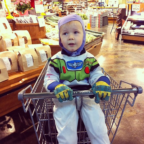 Buzz Lightyear at the grocery store