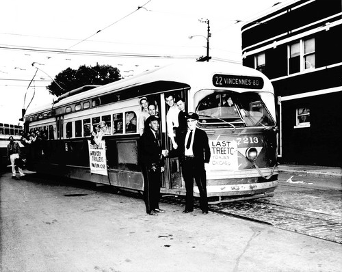 Chicago's last electric streetcar.  Chicago Illinois. June 21st, 1958.  Photo courtessy of the Chicago Tribune Newspaper. www.chicagotribune.com by Eddie from Chicago