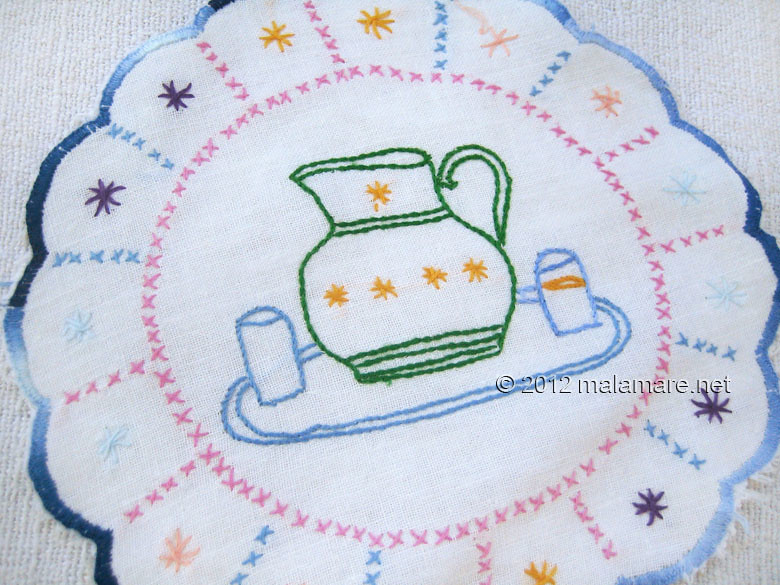 hand embroidery stem stitch jug