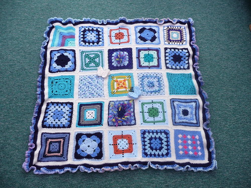 Thanks to Jennifer who kindly assembled this blanket. Thanks to everyone who contributed squares for this gorgeous blanket.