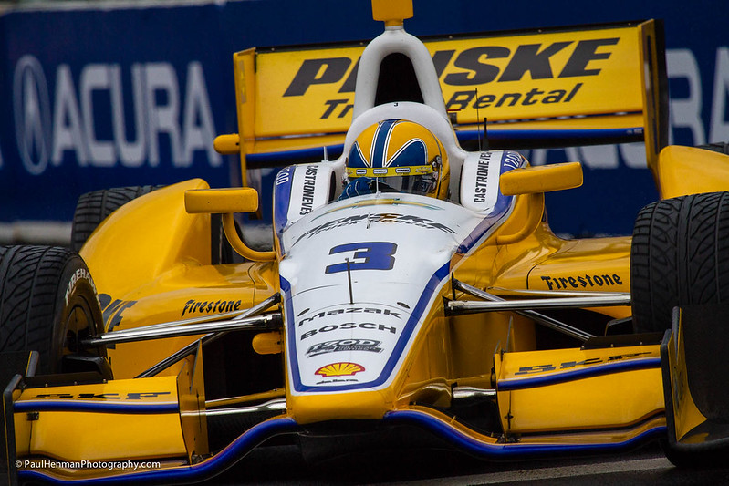 Helio Castroneves close-up (Turn 3, Saturday) by Paul Henman