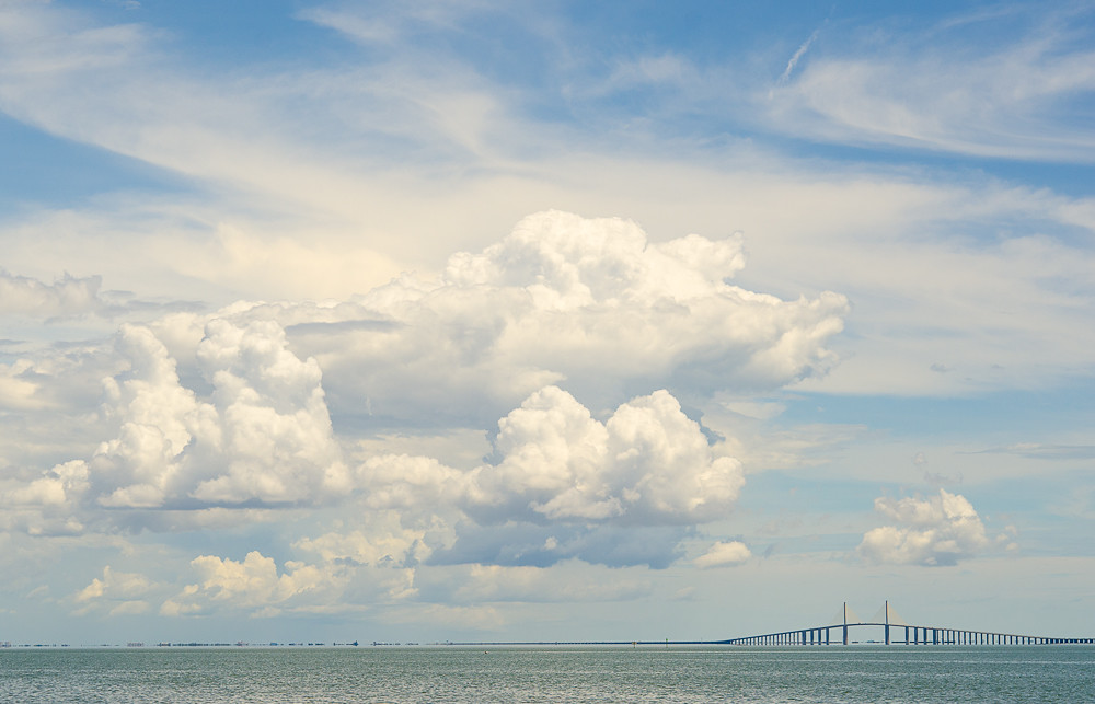 This is not today..but get the picture...Storms just passed over the Sunshine Skyway Bridge