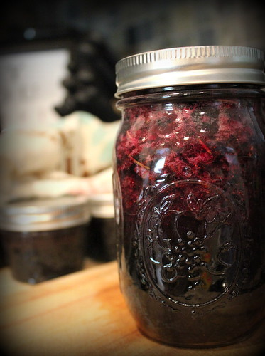 20120714. Blueberry jam with oregano, basil, and rosemary.