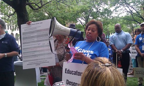 Detroit Federation of Teachers (DFT) Vice President speaks to hundreds of teachers outside the headquarters of the Emergency Manager for the school district. The teachers were protesting the imposition of a draconian contract. (Photo: Abayomi Azikiwe) by Pan-African News Wire File Photos