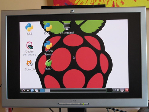 How Rasberry Pi desktop looks via composite video