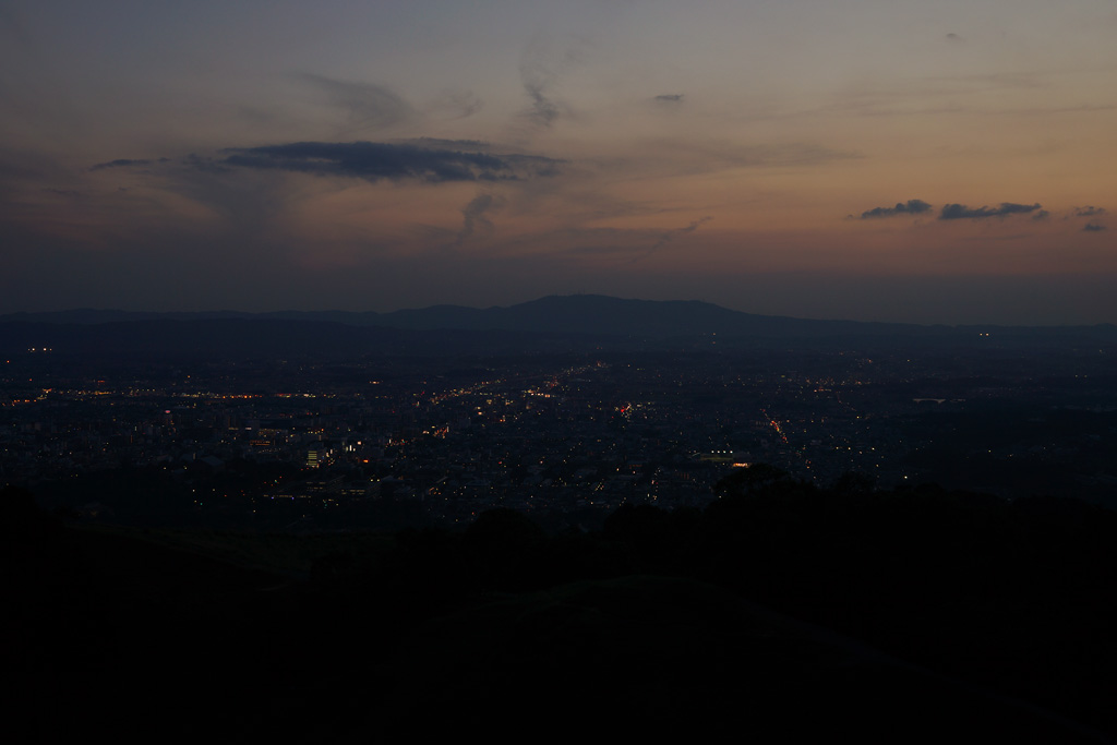 Nara City and Mt. Ikomayama at twilight