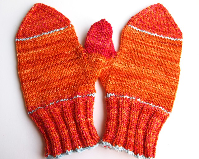 FCK left over yarn handspun mittens