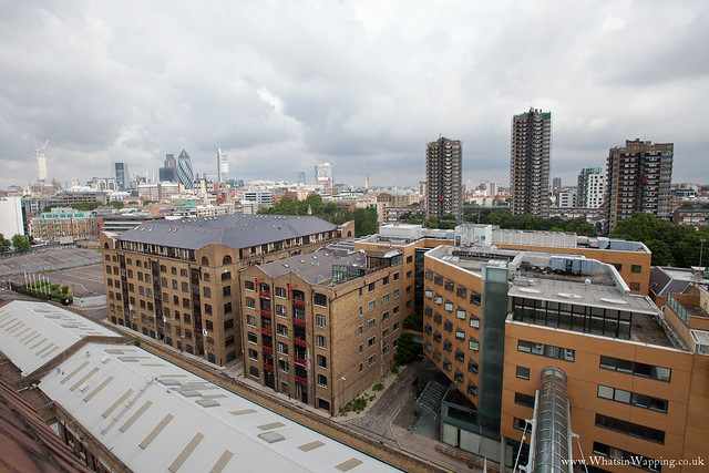 Rooftop view of Wapping warehouses and St Georges estate