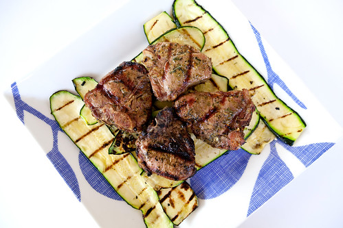 Grilled lamb and summer squash from the garden