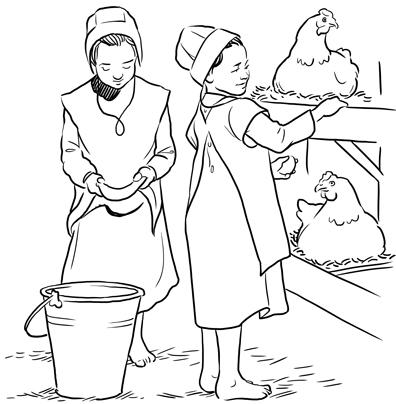 138 karisa amish girls - Amish Children Coloring Book Pages