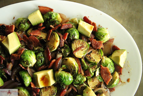 Brussles Sprouts with Red Onion, Bacon and Avocado