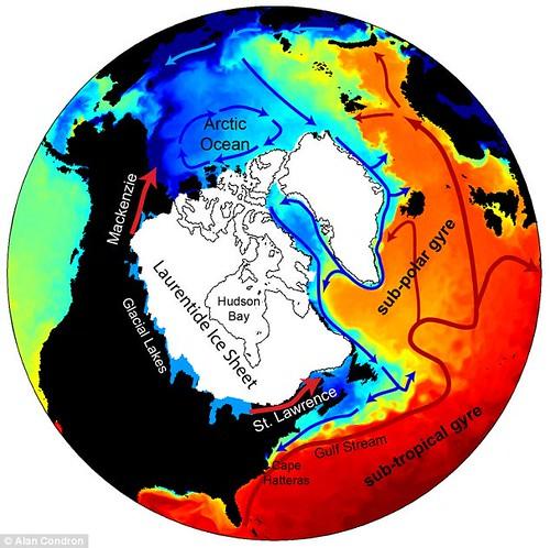 Визуализация - таяние льда в Канаде вызвало глобальное похолодание 13 тысяч лет назад
