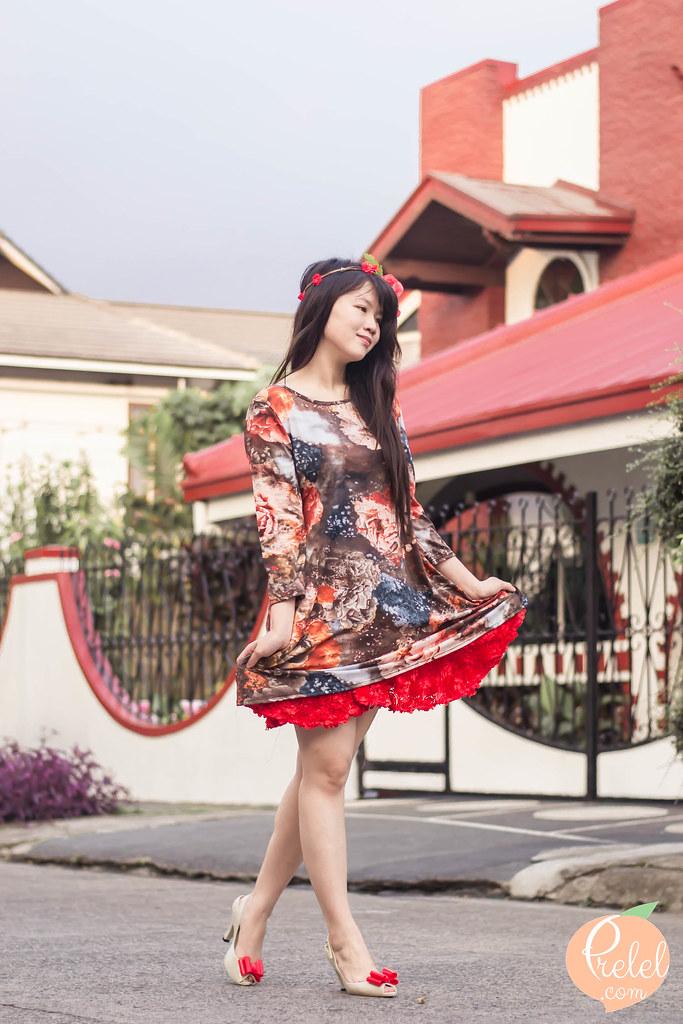 tie dye floral print dress