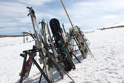 Skis awaiting use on Cairngorm