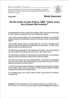 Judith Tizard statement after death of John O'Shea (2001)