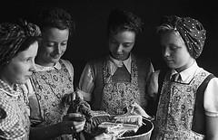 Wem schoolchildren learning domestic skills and gardening