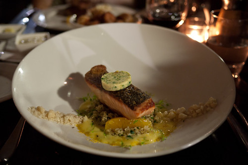 Roast salmon topped with sea urchin butter