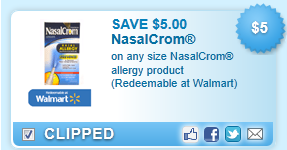 Nasalcrom Allergy Product (redeemable At Walmart)  Coupon